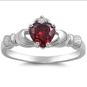 Sterling Silver Ladies Heart Shape Red Garnet Cubic Zirconia CZ Irish