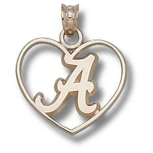 Alabama Crimson Tide Logo Heart Pendant 14K Gold Jewelry
