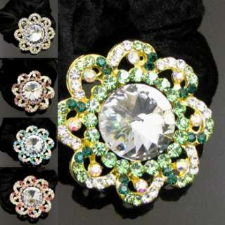 SHIPPING 1pc rhinestone crystal flower hair scrunchie ponytail