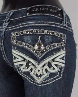 NWT Womens LA IDOL Bootcut Jeans LEATHER & CRYSTALS WITH WHIP STITCH