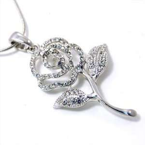 Crystal Rose Pendant Necklace Fashion Jewelry Jewelry