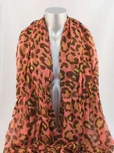 PEOPLE STYLE CORAL LEOPARD PRINT CRINKLED FASHION SCARF WRAP