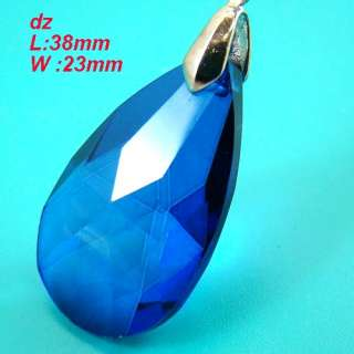 color Faceted Teardrop Crystal Pendant Chain Necklace Jewelry