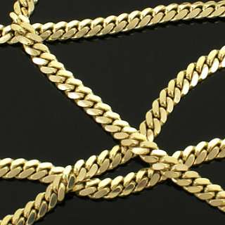 5mm Thick Men Solid Gold Filled Cuban Link Chain Real Heavy Plated