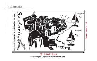 SANTORINI GREECE DIY Wall Decor Vinyl Art Sticker Decal