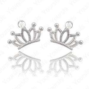 White Gold Plated Ear Studs Swarovski Crystal Crown Lid Silver Earring
