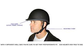 FLAT MATTE BLACK Polo / Jockey DOT Motorcycle Half Helmet LOW PROFILE