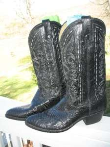 Dan Post Black Leather Cowboy Boots Mens Size 9 Womens Size 10.5