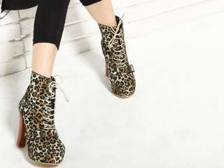 Ladys Lace Ups Ankle Boots Block Heels Leopard Black us8.5