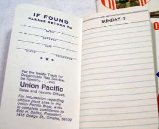 Vintage 1968 Union Pacific Railroad Monthly Diaries