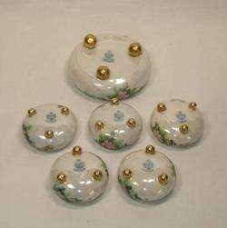 RS TILLOWITZ Silesia SALT CELLAR SET Luster Ware Hand Painted Roses