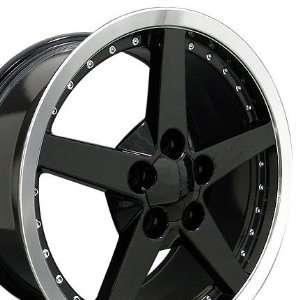 C6 Deep Dish Wheels with Rivets Fits Camaro Corvette   Black 18x8.5
