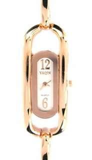 Yaqin Fashion Watch Ladies 18KGP Rose Gold   7.5 inch adjustable links