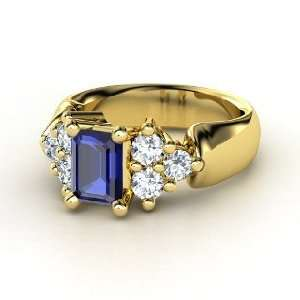 Astrid Ring, Emerald Cut Sapphire 14K Yellow Gold Ring
