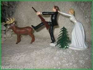 HUMOROUS WEDDING DEER HUNTER HUNTING CAKE TOPPER