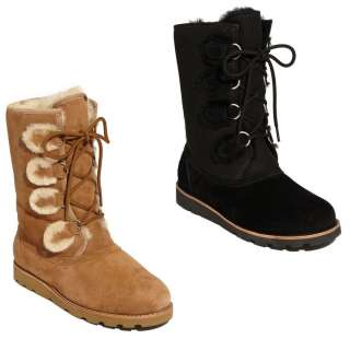 NIB NEW UGG AUSTRALIA ROMMY SUEDE AND SHEARLING LACE UP MID CALF BOOTS