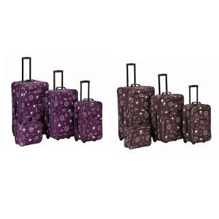 Rockland Deluxe PURPLE Pearl 4 pc Luggage set Rolling