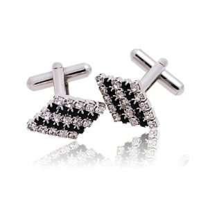 Silver and Black Rhinestone line Cross Silver Novelty Cuff
