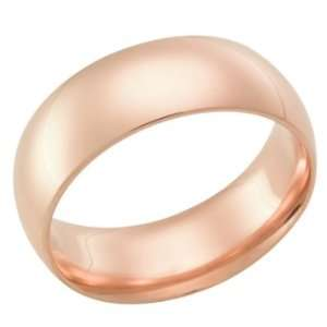 8.0 Millimeters Rose Gold Heavy Wedding Band Ring 18kt