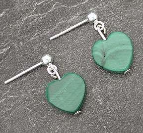 Sterling Silver Green Malachite Heart Post Earrings