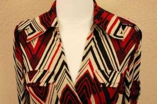 DIANE VON FURSTENBERG Dress Wrap 100% SILK Red/Black Pockets 3/4