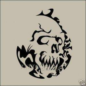 Reusable Stencil for Airbrush   Flaming Skull (Large)