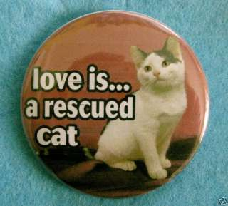 LOVE IS a Rescued Cat kitten rescue BADGE BUTTON magnet
