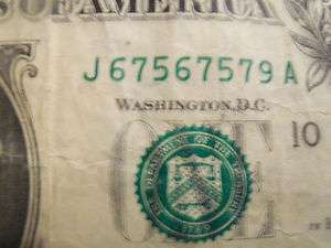 675 675 $1 DOLLAR BILL ONE FANCY REPEATING SERIAL NUMBER REPEATER NOTE