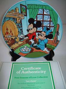 Mickey Mouse Four Seasons of Love Let It Snow Collector Plate NIB