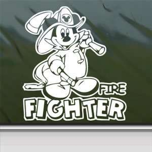 MICKEY DISNEY FIRE FIGHTER White Sticker Laptop Vinyl