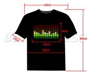 Light Up LED Sound Activated Flashing T SHIRT Size L DJ