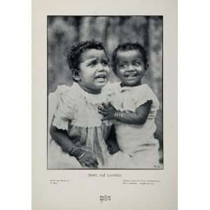 1905 Portrait Black Americana Children B/W Print