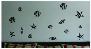 40 Zebra Animal Print Circles Stars Wall Sticker Vinyl Decal Jungle