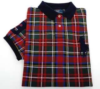 Custom Fit Polo Big Pony Mesh Short Sleeved Shirt Red Plaid