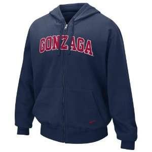 Nike Gonzaga Bulldogs Navy Blue Classic Full Zip Hoody Sweatshirt (X