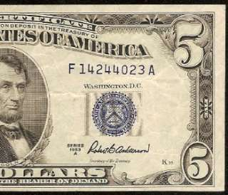1953 A $5 DOLLAR BILL SILVER CERTIFICATE BLUE SEAL NOTE Fr 1656 OLD