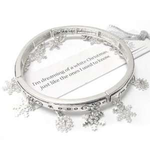 Dreaming of a White Christmas   Snowflake Charm Silver Tone Stretch