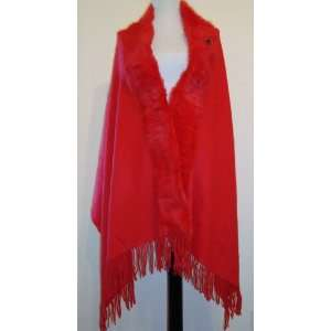 Baby Alpaca / Cashmere Blend Shawl with Real Fox Fur Detail Red