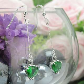 2x8mm Green Fine Emerald 18K White Gold Plated Heart Cut Long Dangle