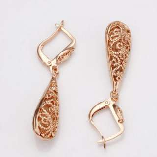 18K rose Gold plated Swarovski beautiful hollow earrings E50