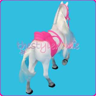 White Princess Horse w/ Pink Saddle for Barbie Ken Doll