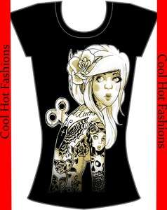 Tattoo Lady Girl pinup Burnout Shirt top retro Punk Psychobilly