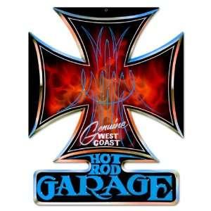 Hot Rod Garage Iron Cross Metal Sign