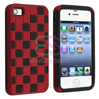 White+Orange+Pink+Red+Purple Checker Hybrid Hard Case Cover For iPhone