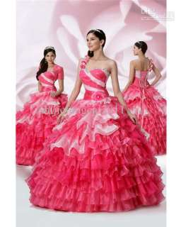 One Shoulder Prom ball gown Quinceanera dress color wedding dress 2012
