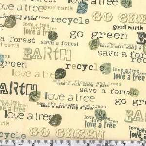 45 Wide Save The Earth Slogans Cream Fabric By The Yard