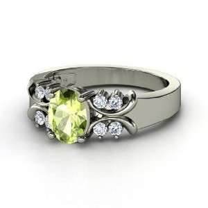 Gabrielle Ring, Oval Peridot 14K White Gold Ring with