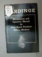 Hardinge Operators Manual for High Speed Precision Mill