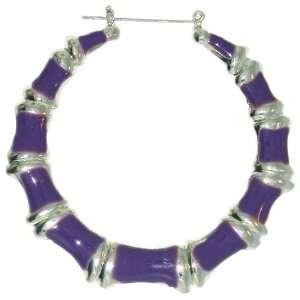 Enamelled Bamboo Hoop Earrings In Purple with Silver