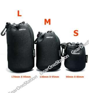 New Soft Neoprene Camera Lens Pouch Case Bag Set S+M+L